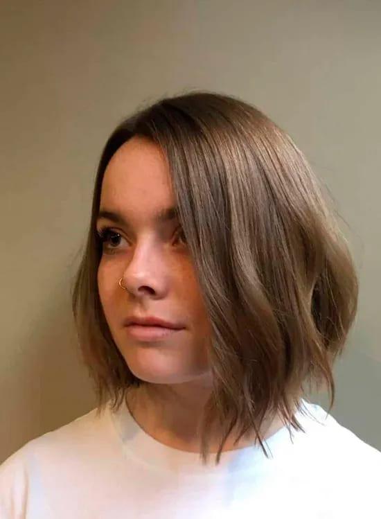 Стрижка удлиненный боб на тонких натуральных волосах